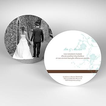 Carte de remerciement mariage Nuptial rond chocolat turquoise