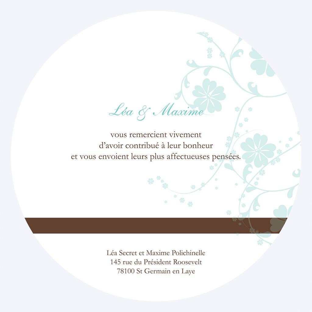 Carte de remerciement mariage Nuptial rond chocolat turquoise gratuit