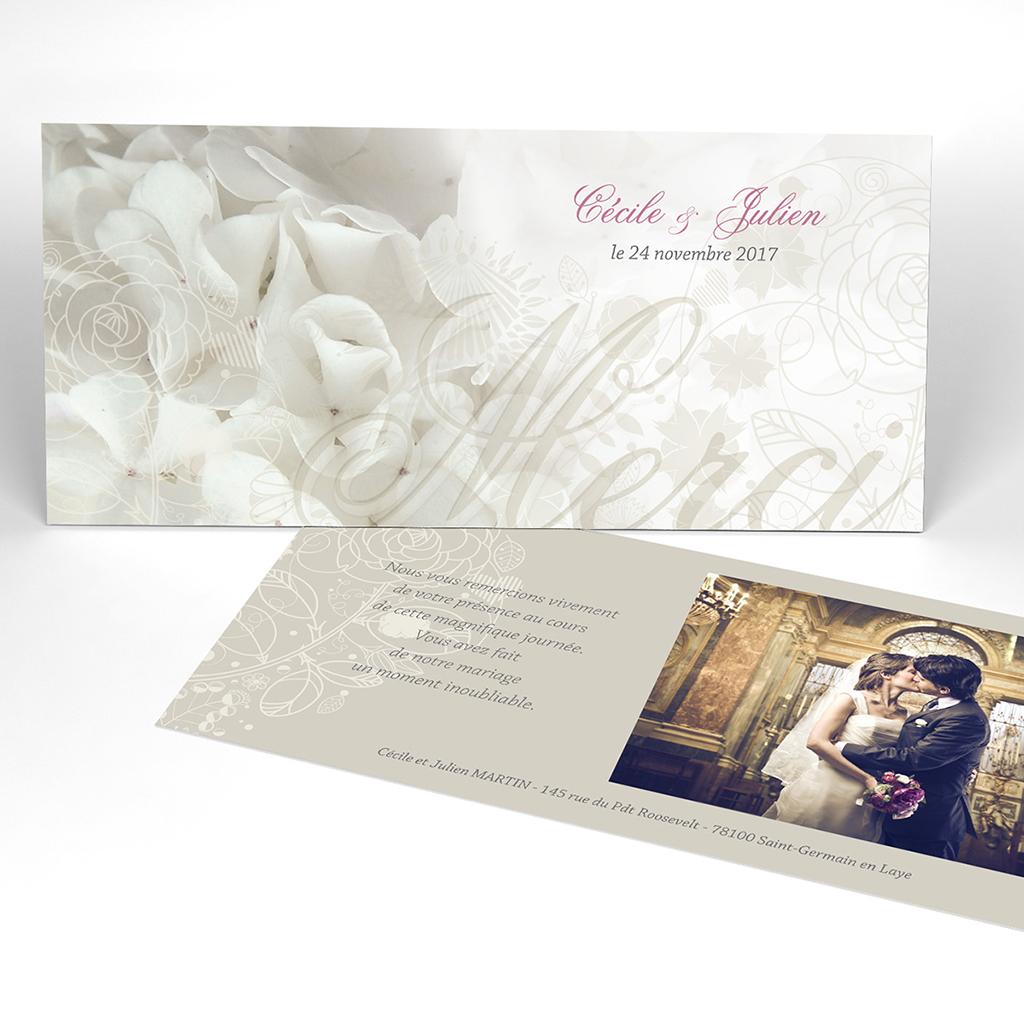 Carte de remerciement mariage Mariage ivoire