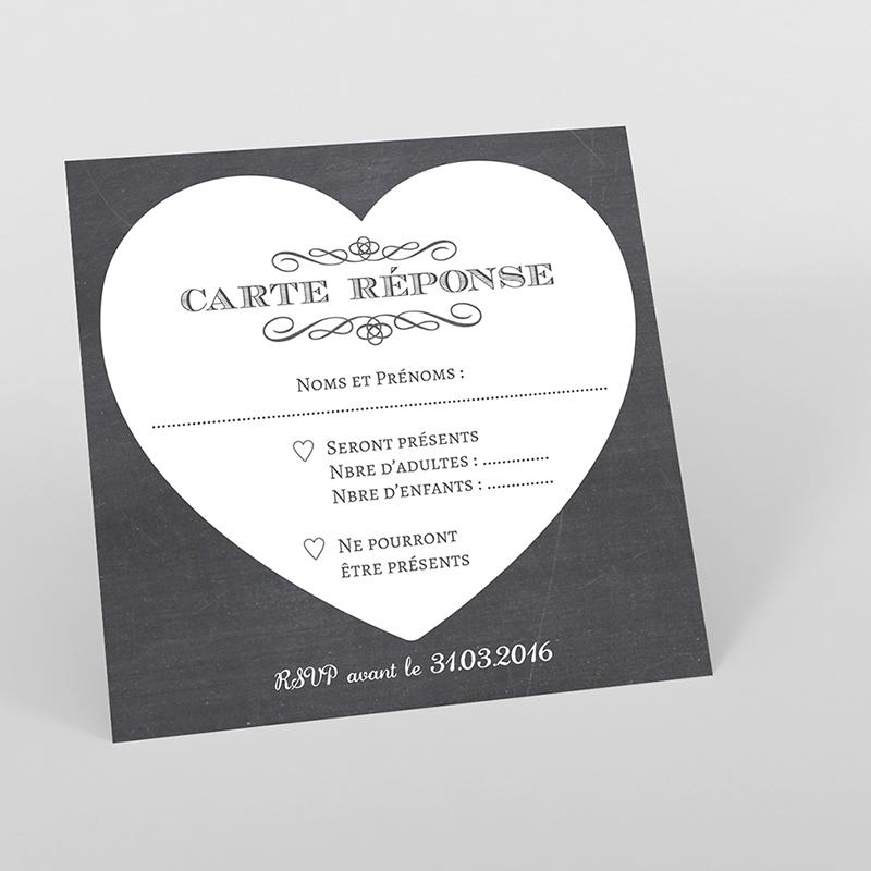 Carton réponse mariage Wedding cake ardoise