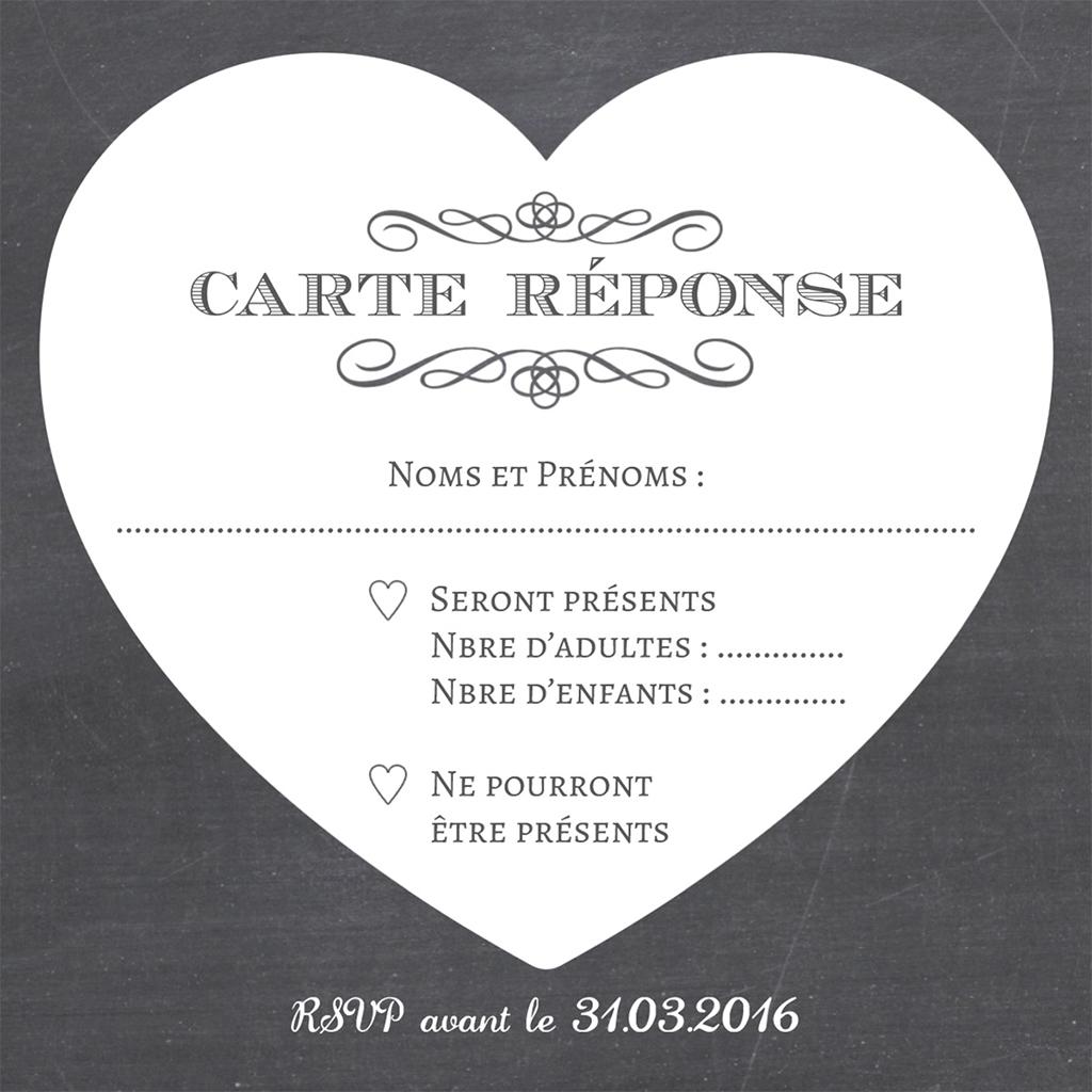 Carton réponse mariage Wedding cake ardoise pas cher