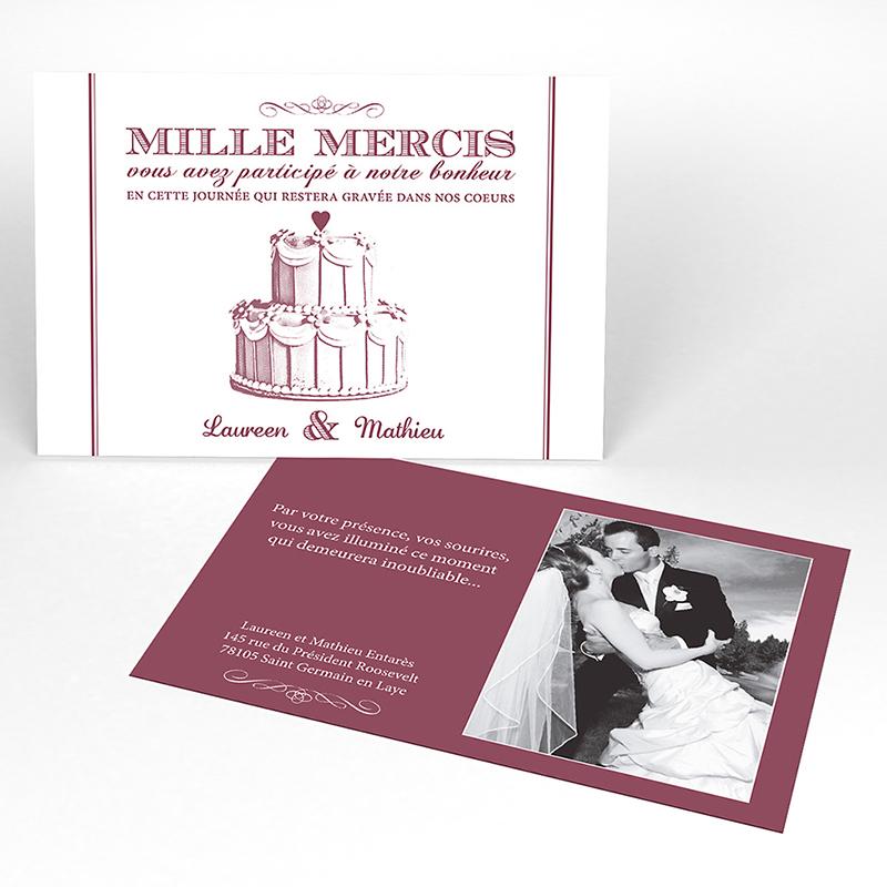 Carte de remerciement mariage Wedding cake bordeaux