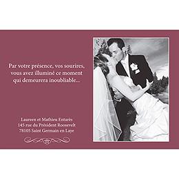 Carte de remerciement mariage Wedding cake bordeaux gratuit