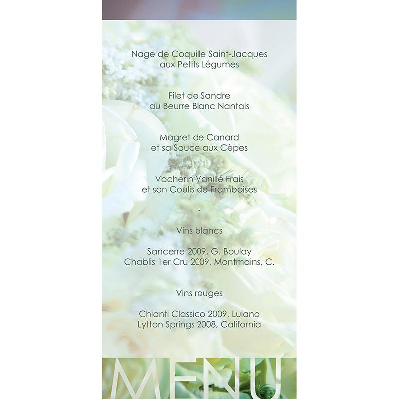 Menu mariage Florilège vert gratuit