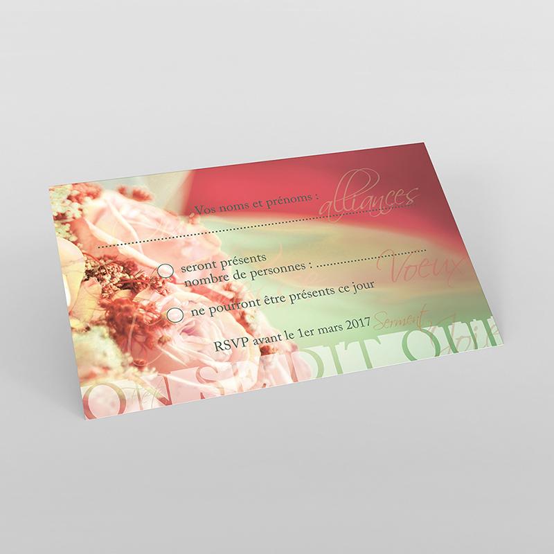 Carton réponse mariage Florilège rose