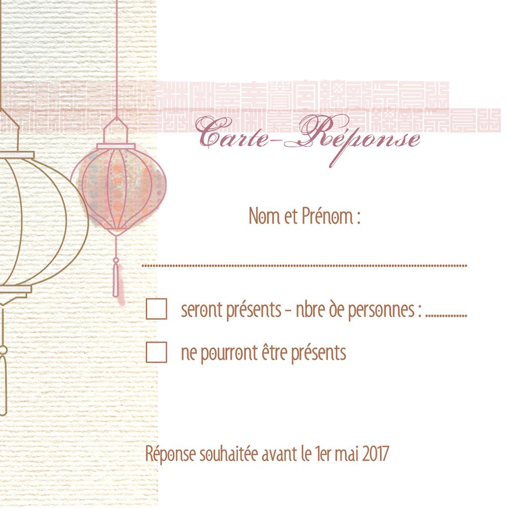 Carton réponse mariage Les lampions  pas cher