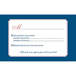 Carton réponse mariage Rose et Bleu pas cher