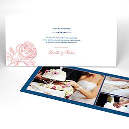Carte de remerciement mariage Rose et Bleu