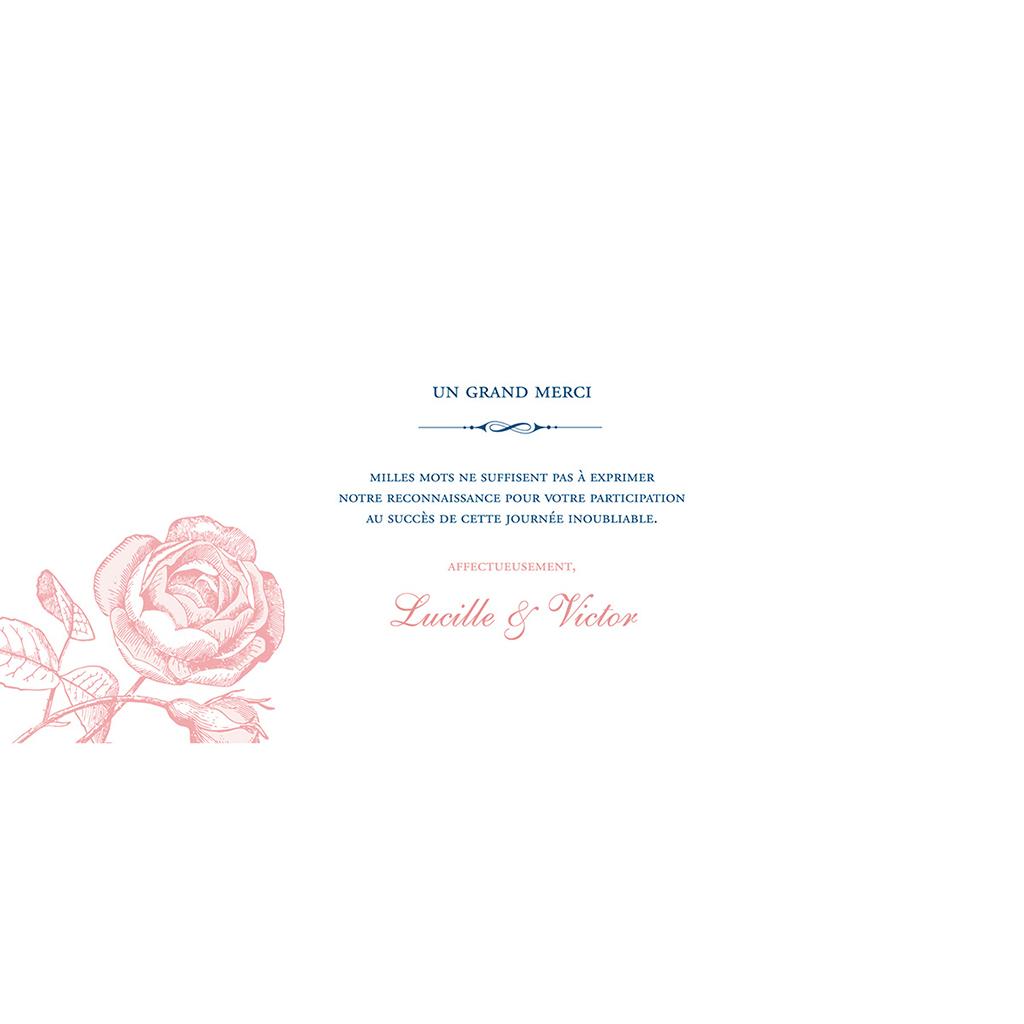 Carte de remerciement mariage Rose et Bleu pas cher