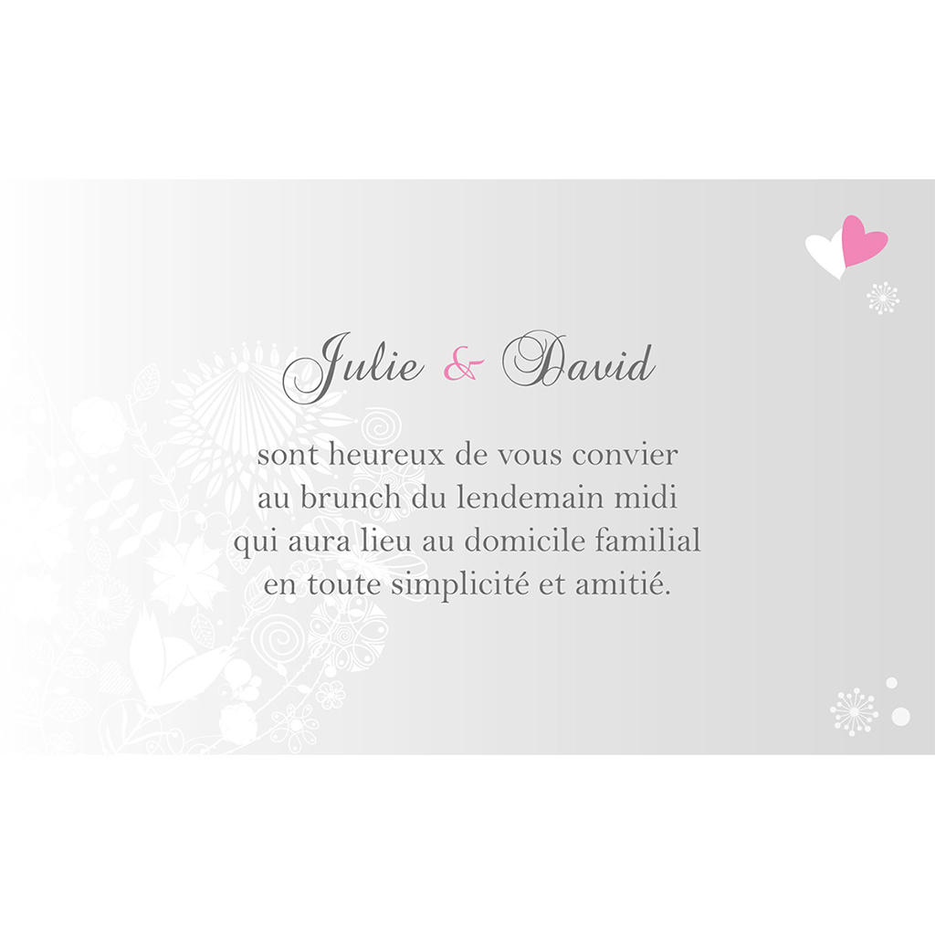 Carte d'invitation mariage Youpi gris panoramique pas cher