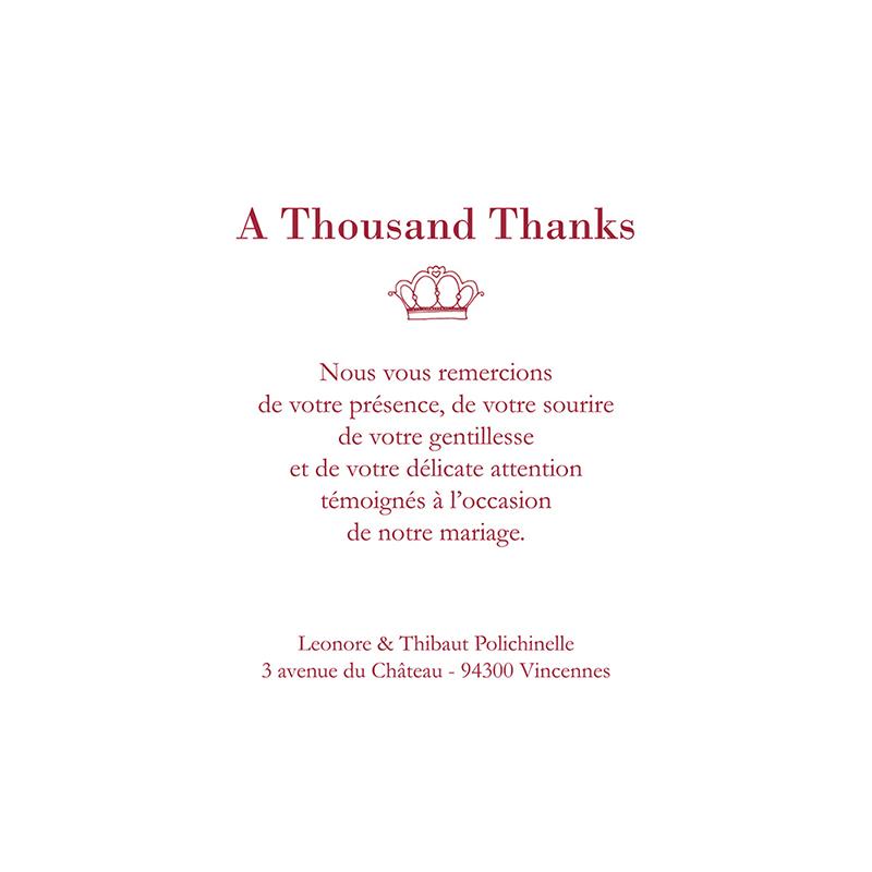 Carte de remerciement mariage Londres  gratuit