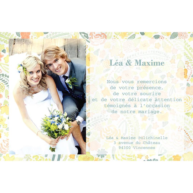 Carte de remerciement mariage Aquarelle  gratuit