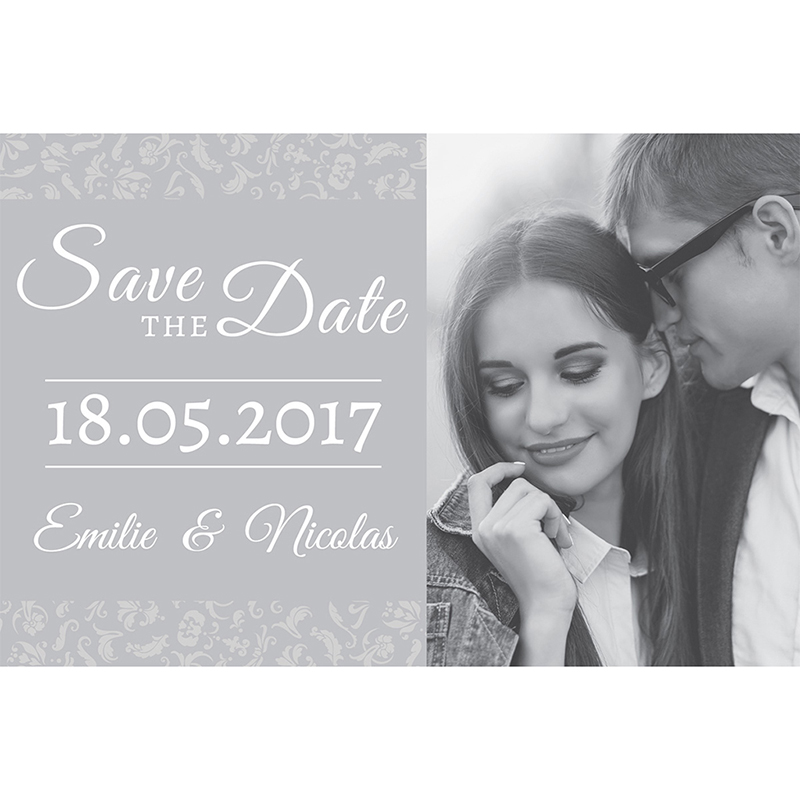 Save-the-date mariage Letter Press gris pas cher