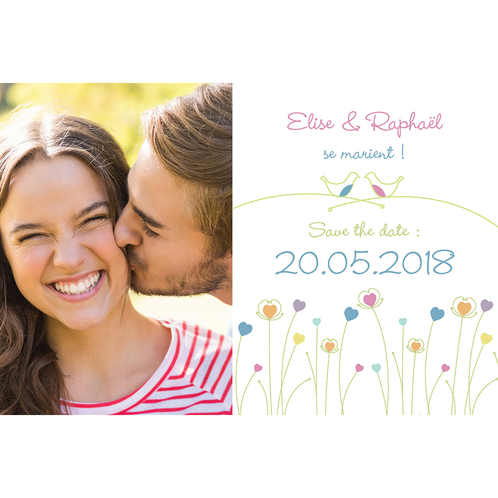 Save-the-date mariage Idylle blanc pas cher