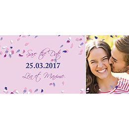 Save-the-date mariage Pétales mauve pas cher