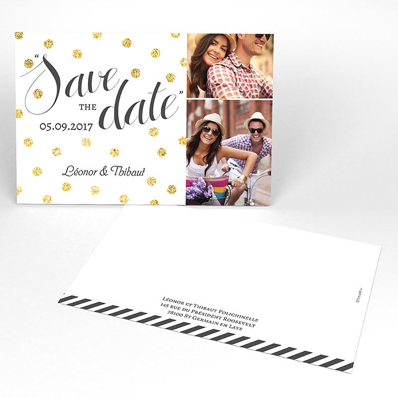 Save-the-date mariage Un jour d'amour noir or