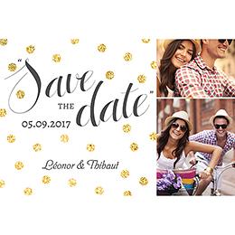 Save-the-date mariage Un jour d'amour noir or pas cher
