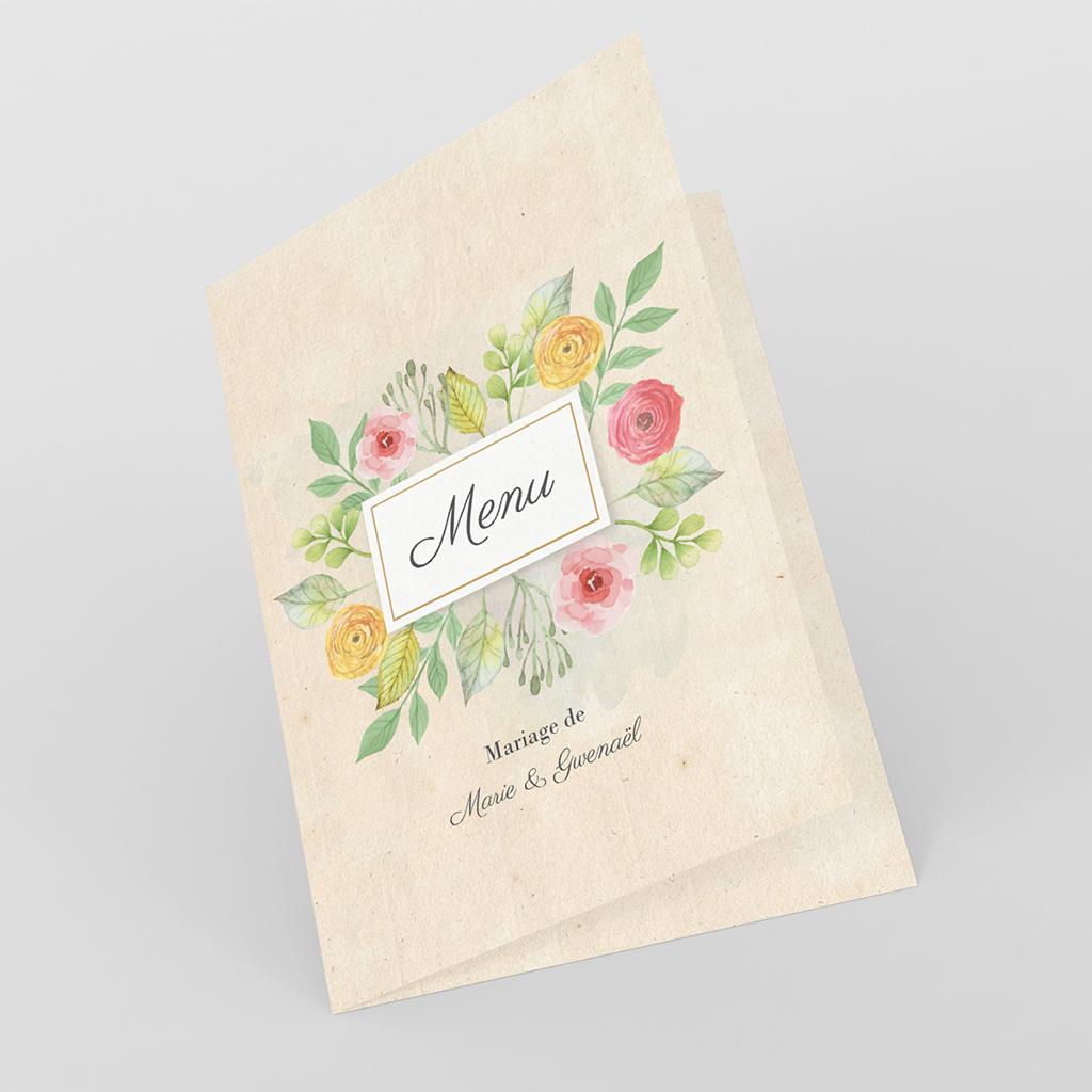 Menu mariage Fleurs Vintage