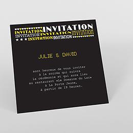 Carte d'invitation mariage New york jaune