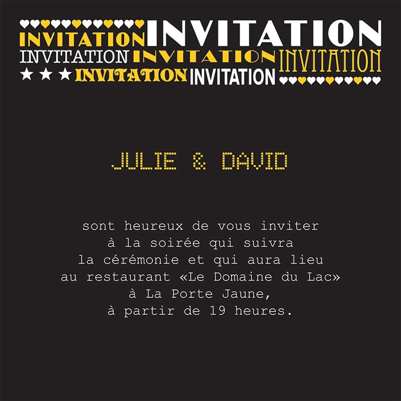 Carte d'invitation mariage New york jaune  pas cher