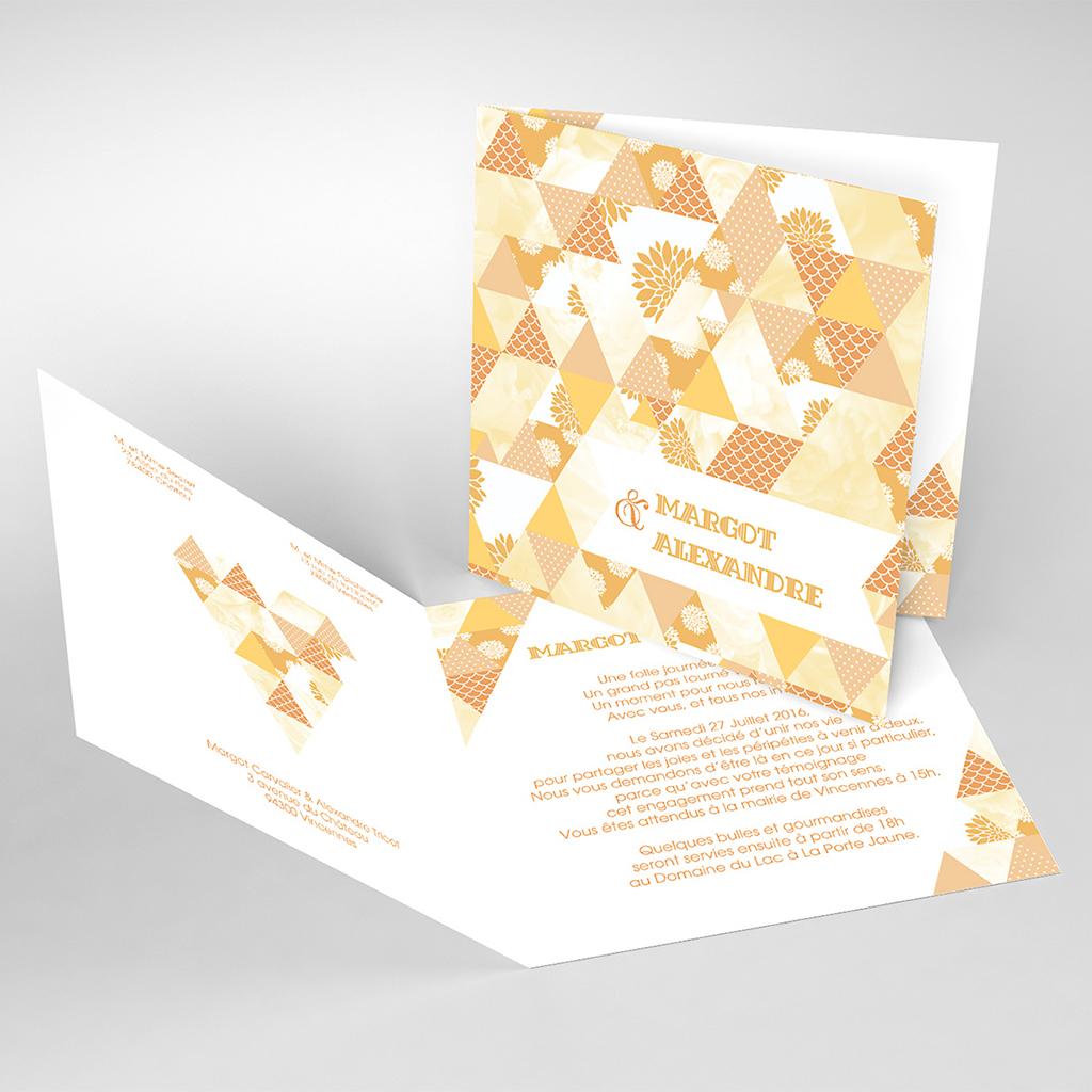 Faire-part de mariage Origami jaune