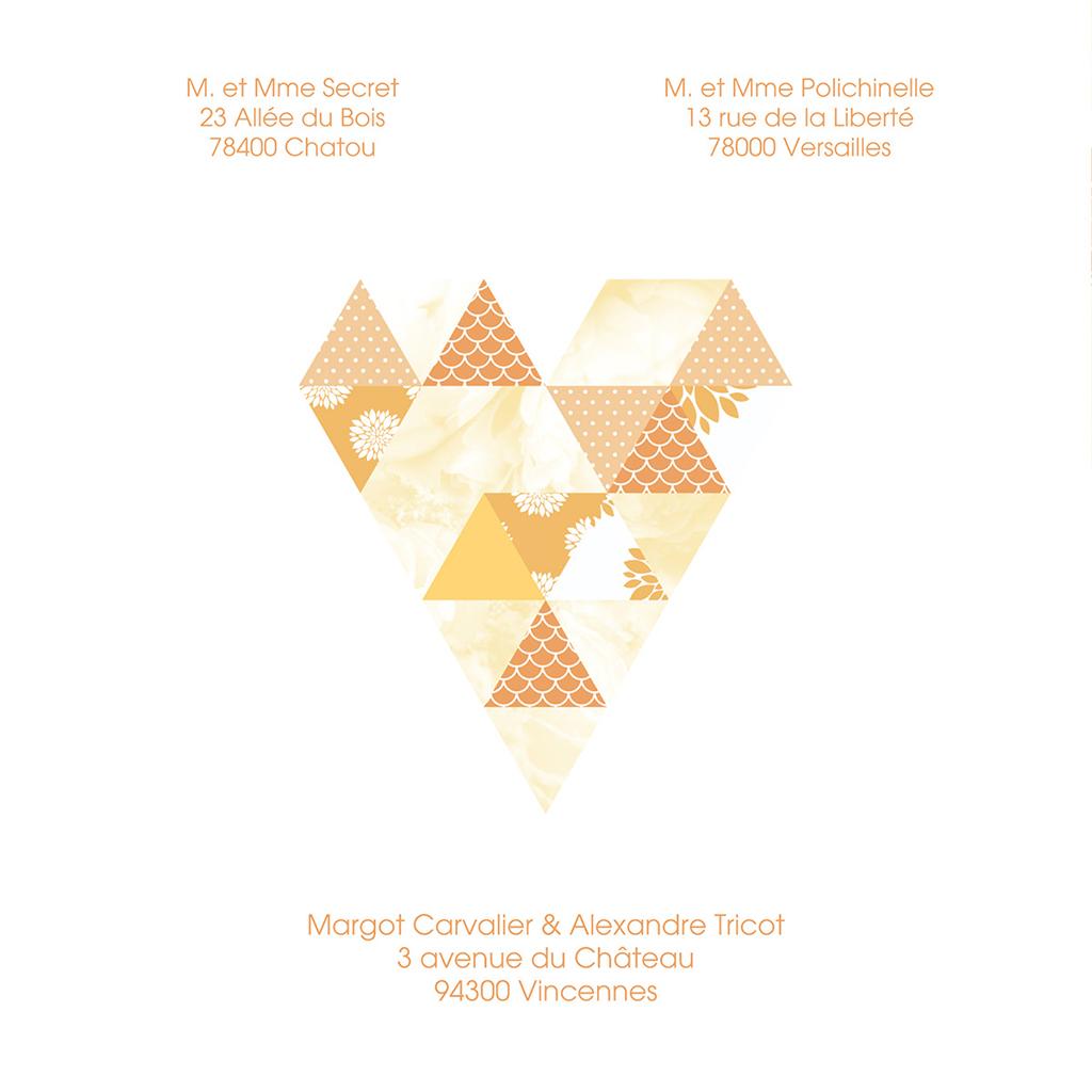 Faire-part de mariage Origami jaune gratuit