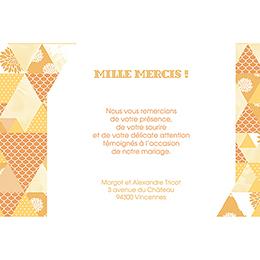 Carte de remerciement mariage Origami jaune pas cher