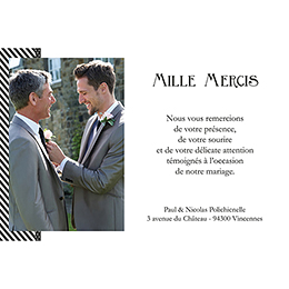 Carte de remerciement mariage Wedding 2 mr gratuit