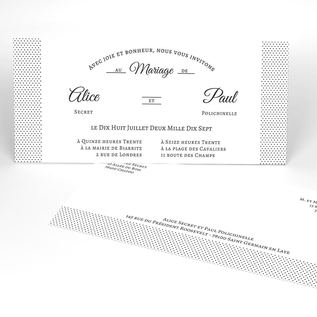 Faire-part de mariage Letter Press blanc