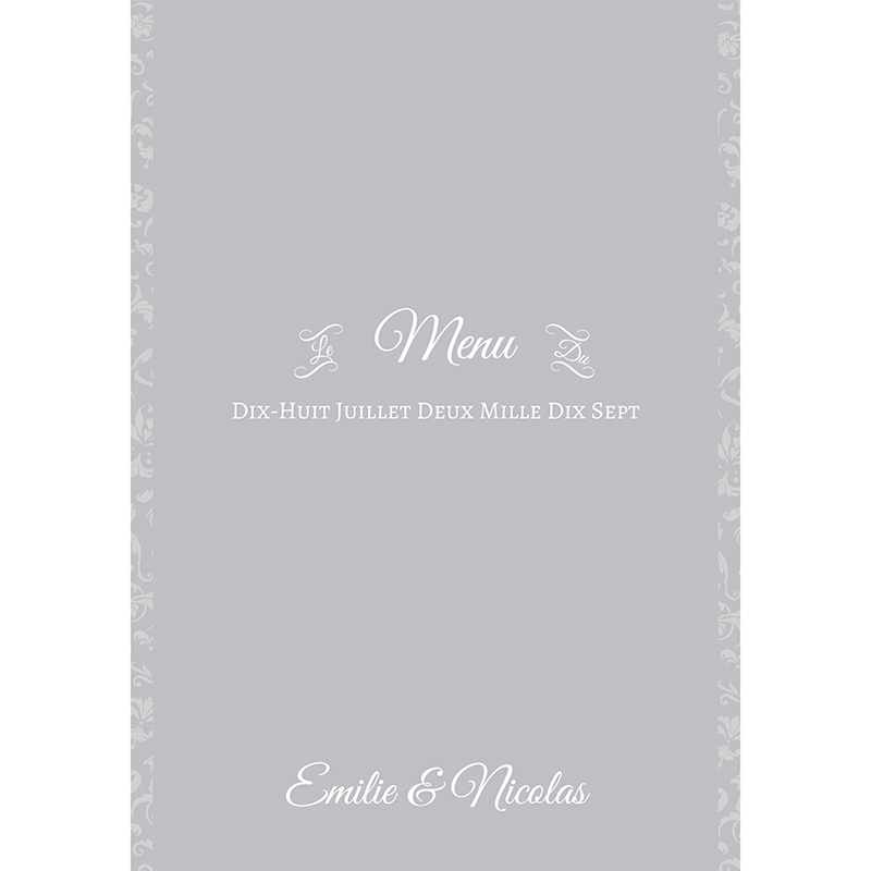 Menu mariage Letter Press gris pas cher