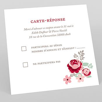 Carton réponse mariage Rose Chic
