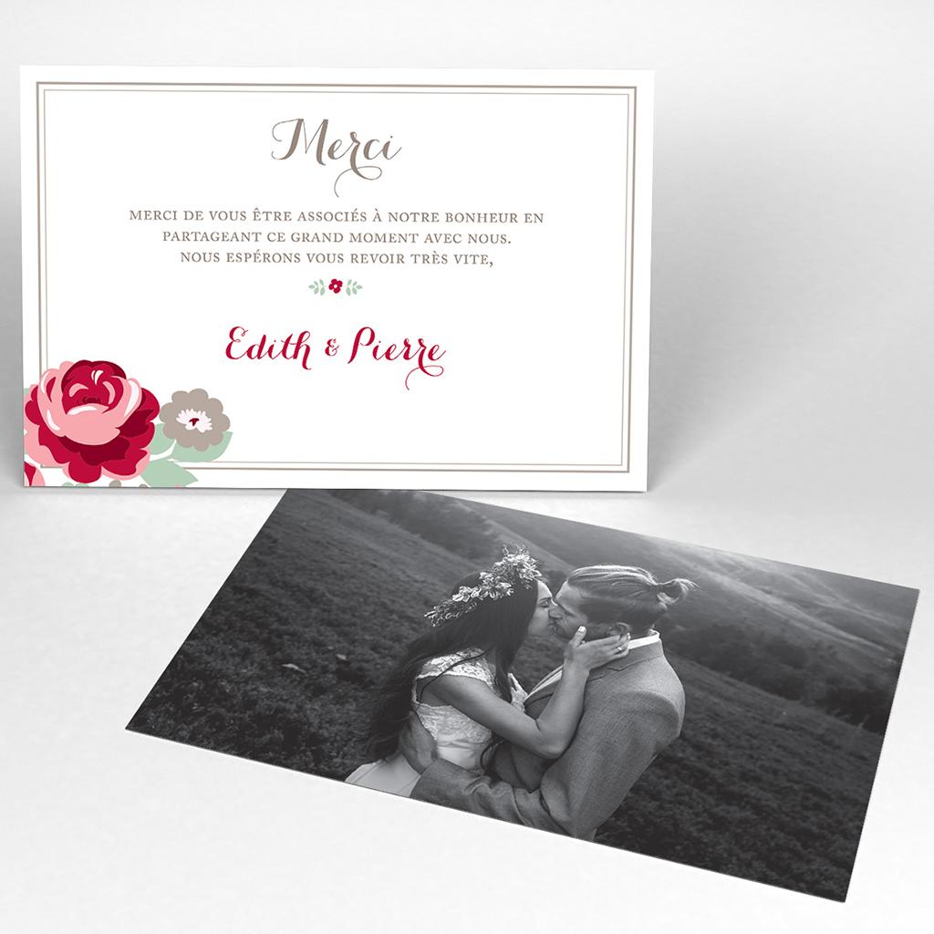 Carte de remerciement mariage Rose Chic
