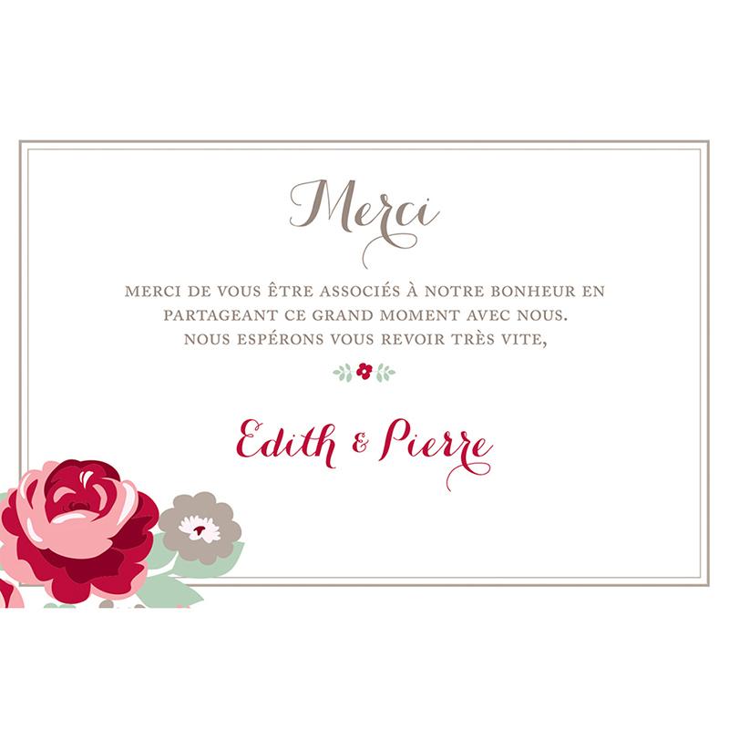 Carte de remerciement mariage Rose Chic pas cher