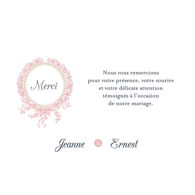 Carte de remerciement mariage Gris et Rose Poudré pas cher