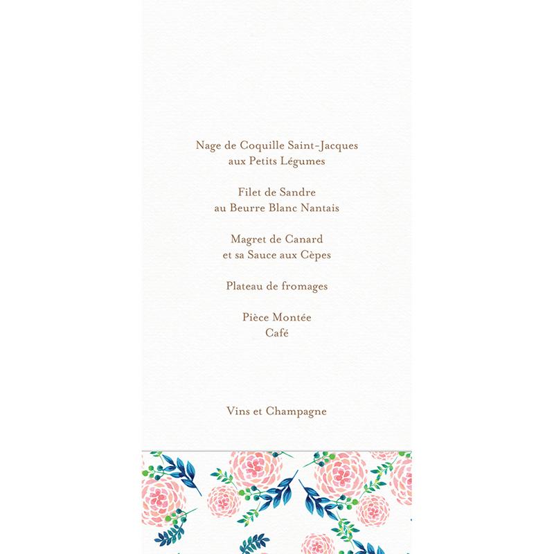 Menu mariage Romantic Folk gratuit