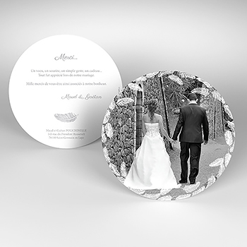Carte de remerciement mariage Plume