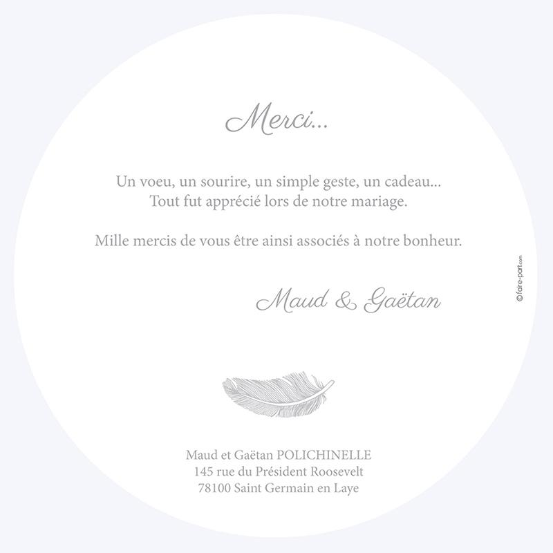 Carte de remerciement mariage Plume gratuit