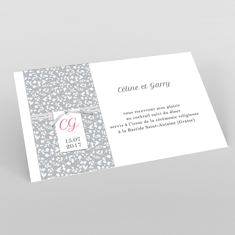 Carte d'invitation mariage Grey