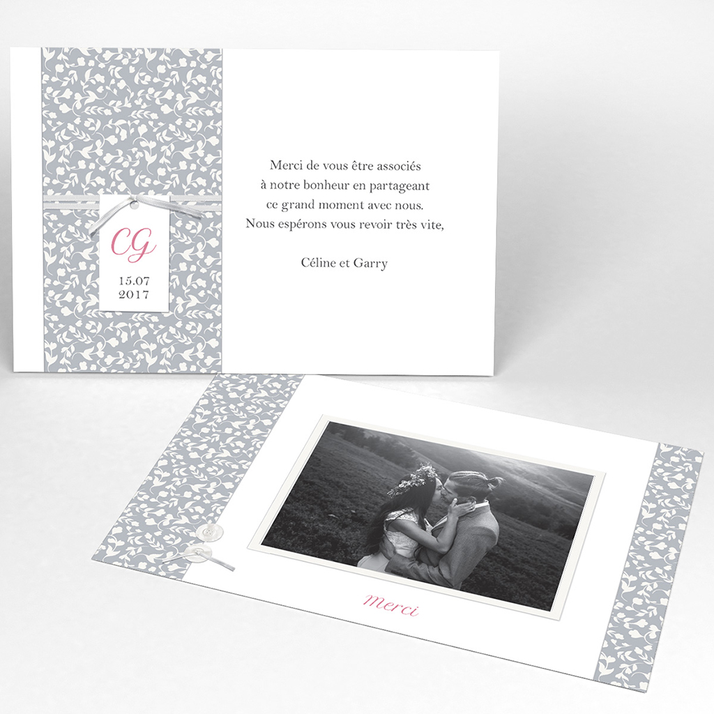 Carte de remerciement mariage Grey