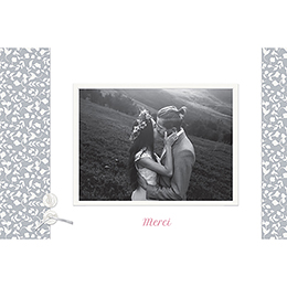 Carte de remerciement mariage Grey gratuit