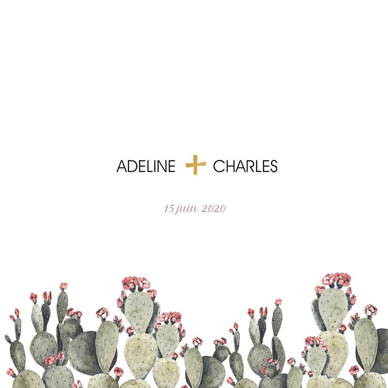 Faire-part de mariage Fleur de cactus pas cher