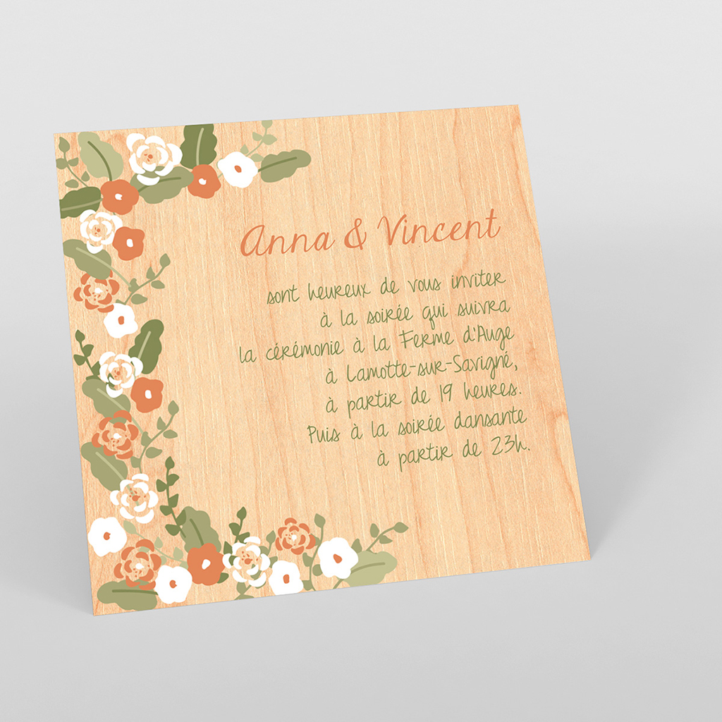 Carte d'invitation mariage Authentique