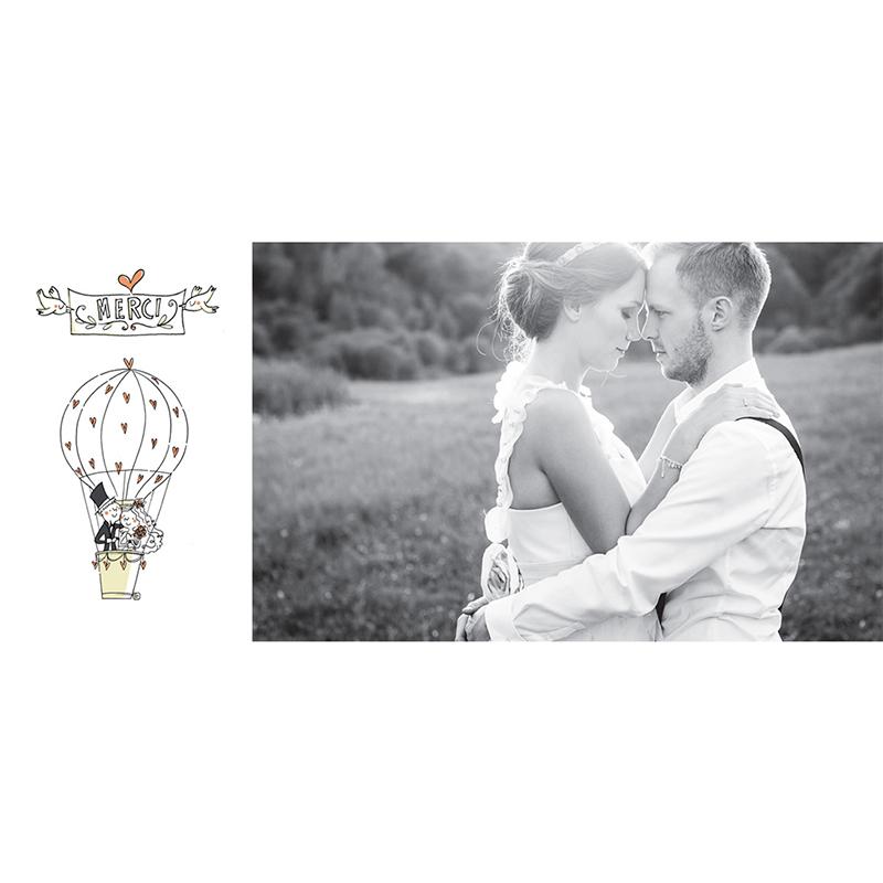 Carte de remerciement mariage Voyage en ballon gratuit