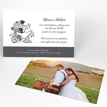 Carte de remerciement mariage Vélo à deux