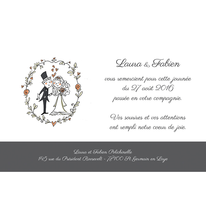 Carte de remerciement mariage Couronne de fleurs pas cher