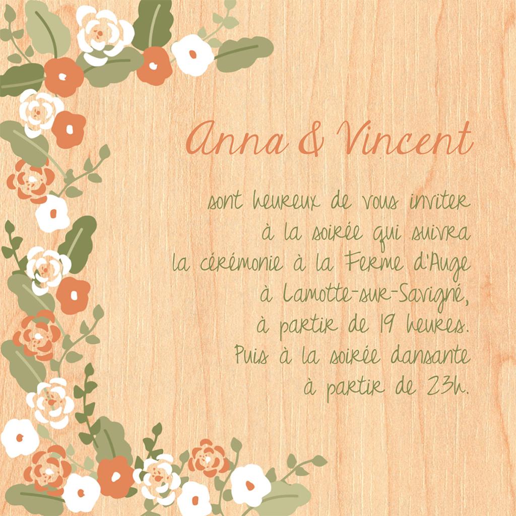 Carte d'invitation mariage Authentique  pas cher