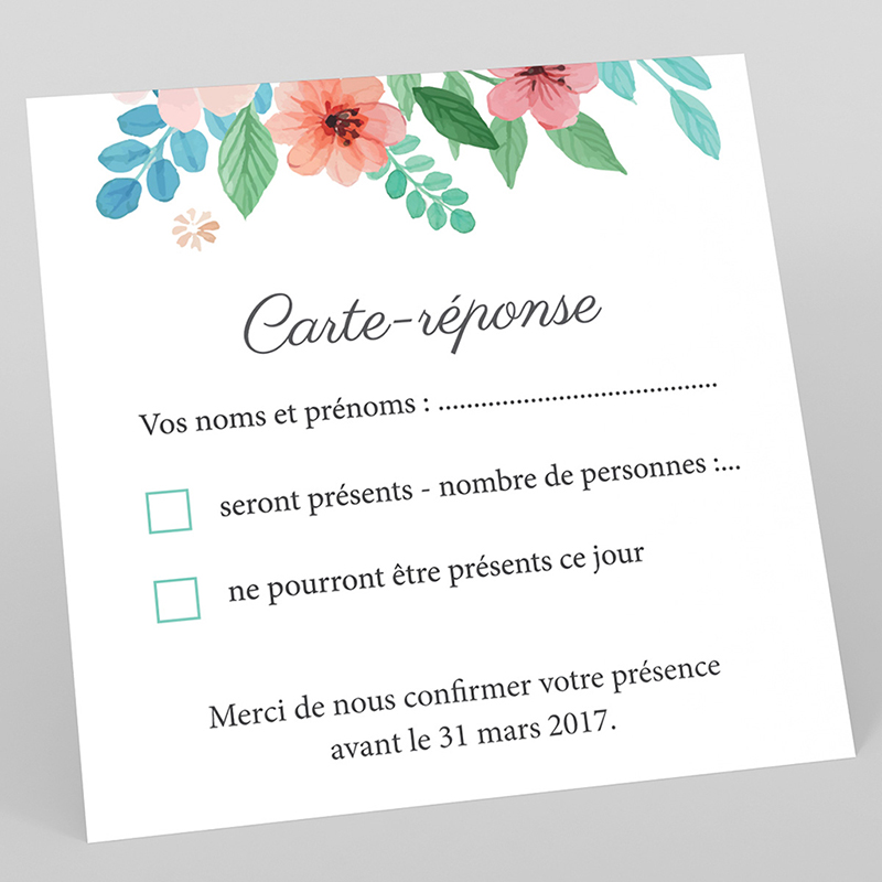 Carton réponse mariage Nature Aquarelle