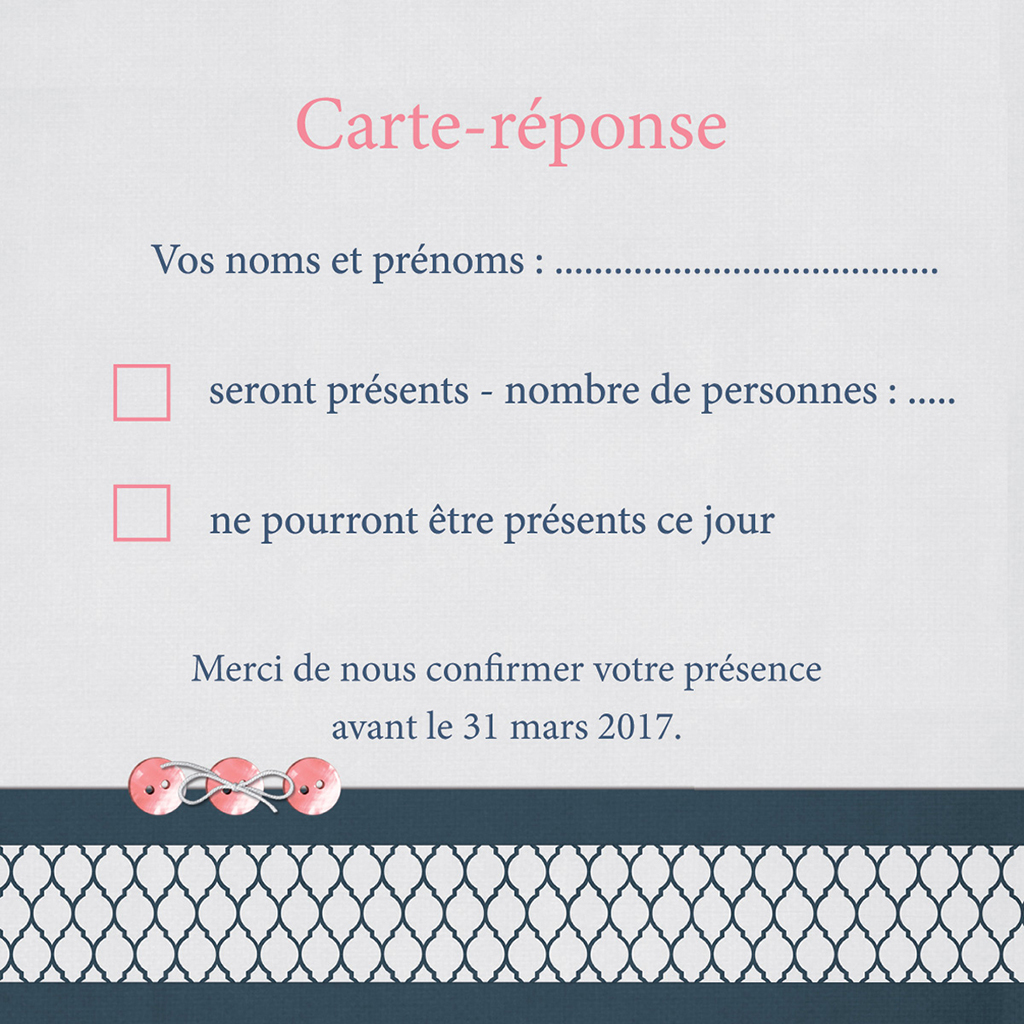 Carton réponse mariage Fleuri Chic pas cher
