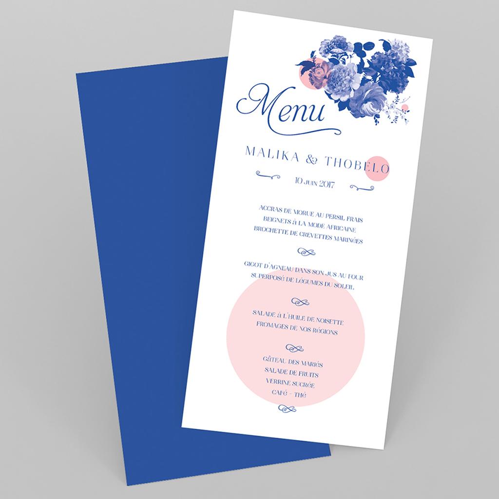 Menu mariage Fleur Bleue Elégance
