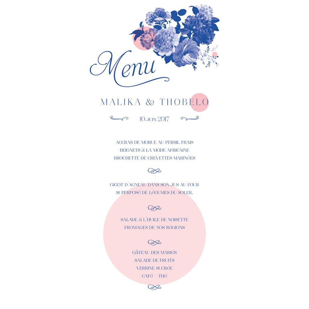 Menu mariage Fleur Bleue Elégance pas cher